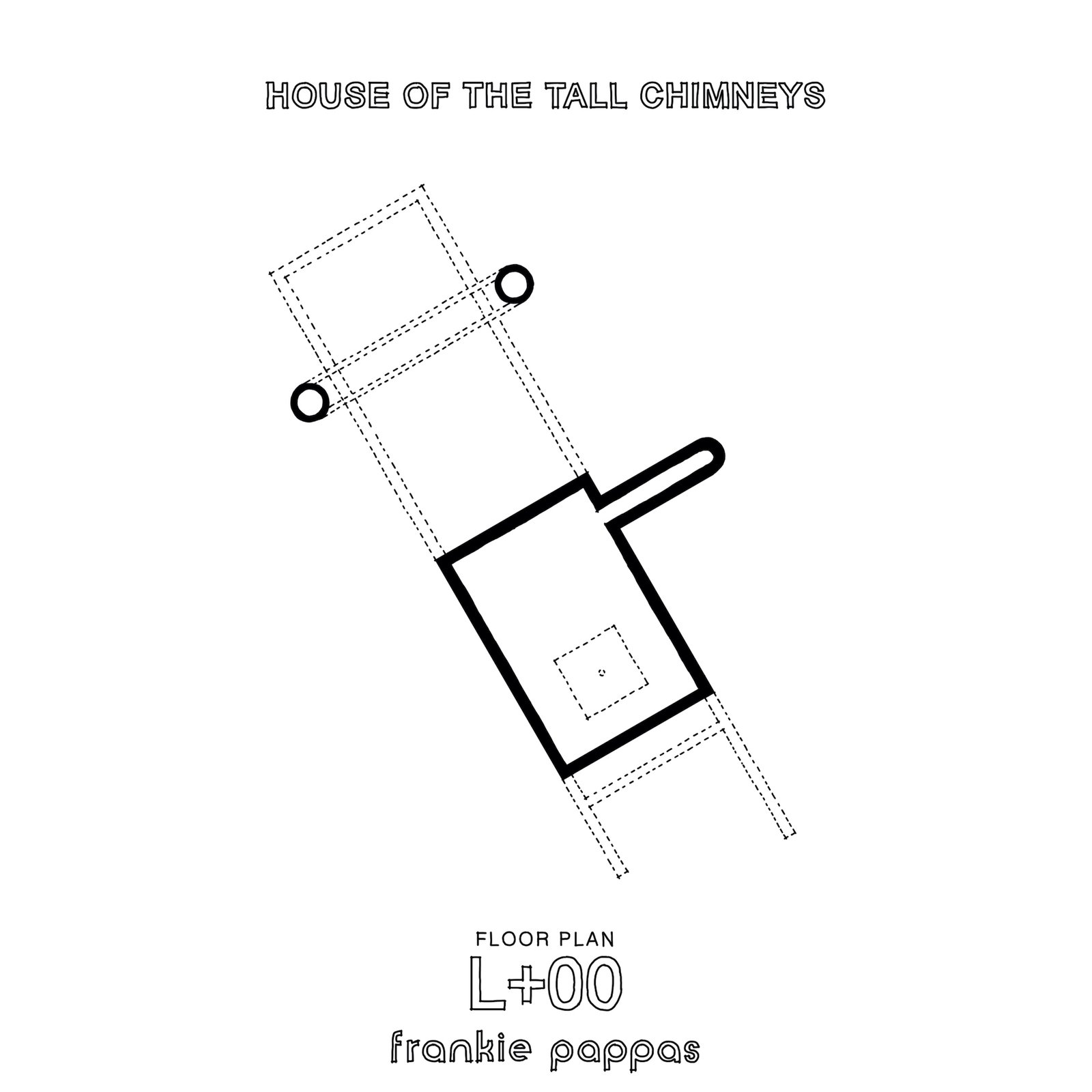 Ground-level floor plan of House of the Tall Chimneys by Frankie Pappas.