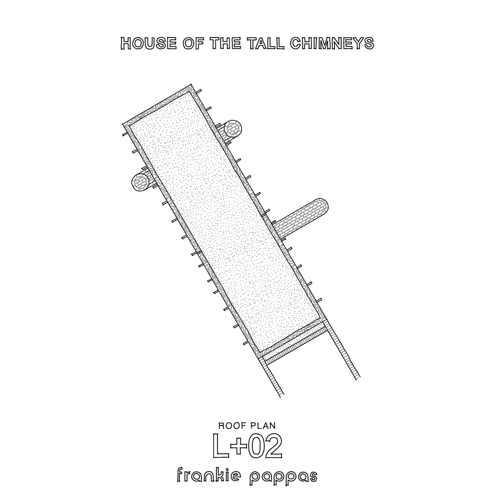 Roof plan of House of the Tall Chimneys by Frankie Pappas.