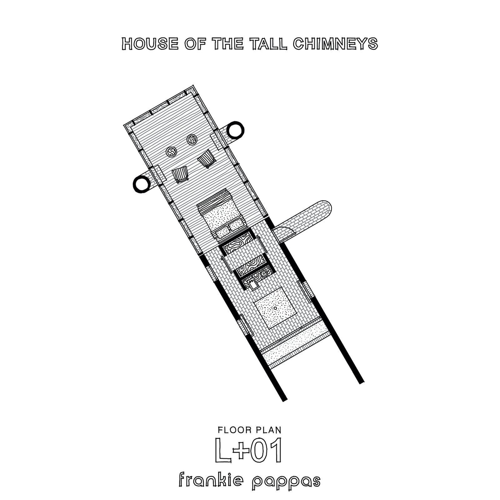 Upper-level floor plan of House of the Tall Chimneys by Frankie Pappas.