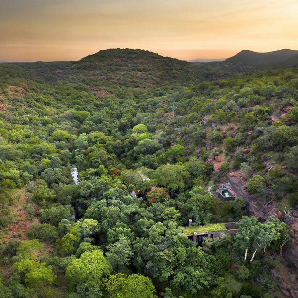 The guesthouse is located in a private reserve in the Waterberg, a mountainous region about three hours from Johannesburg.