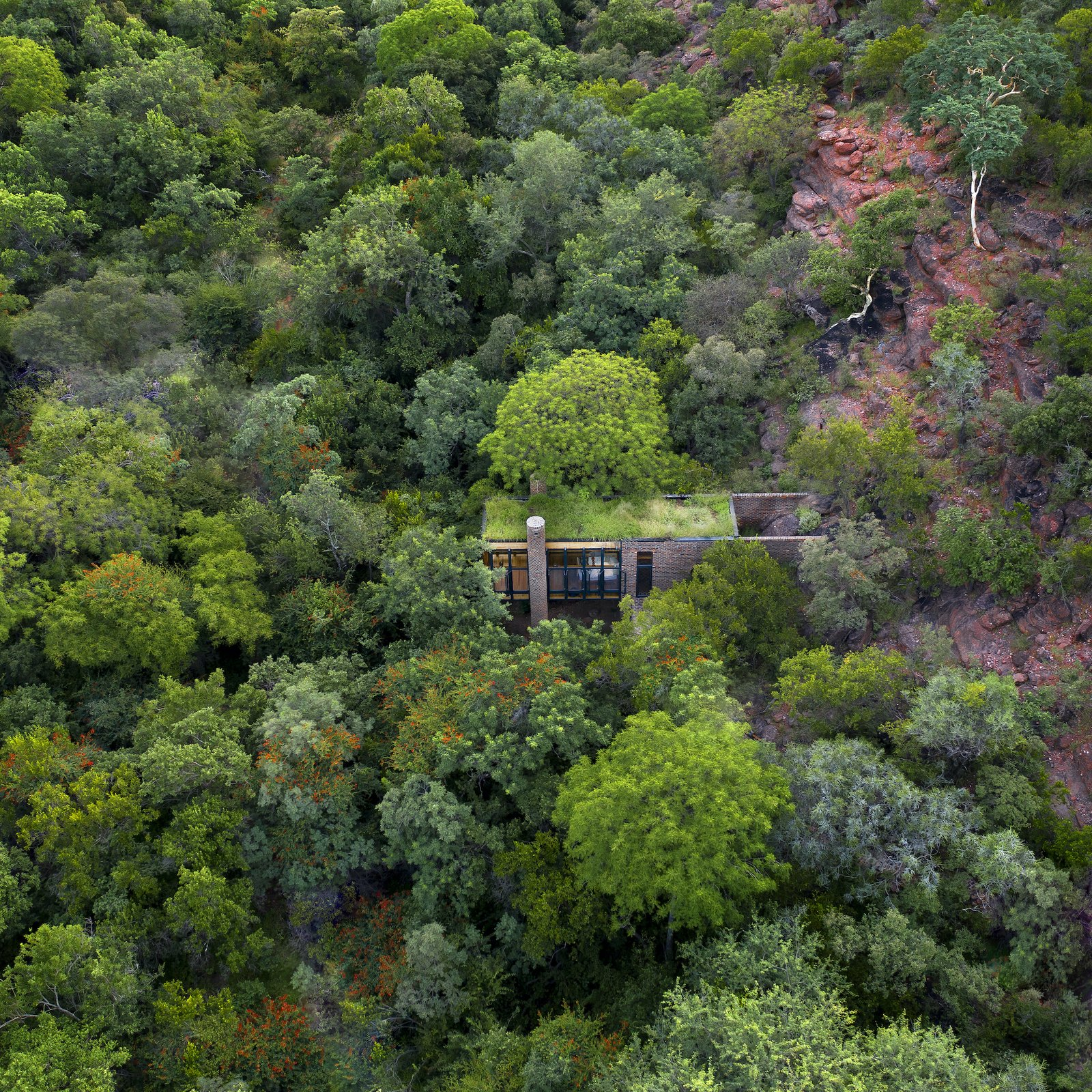 Aerial shot of House of the Tall Chimneys by Frankie Pappas.