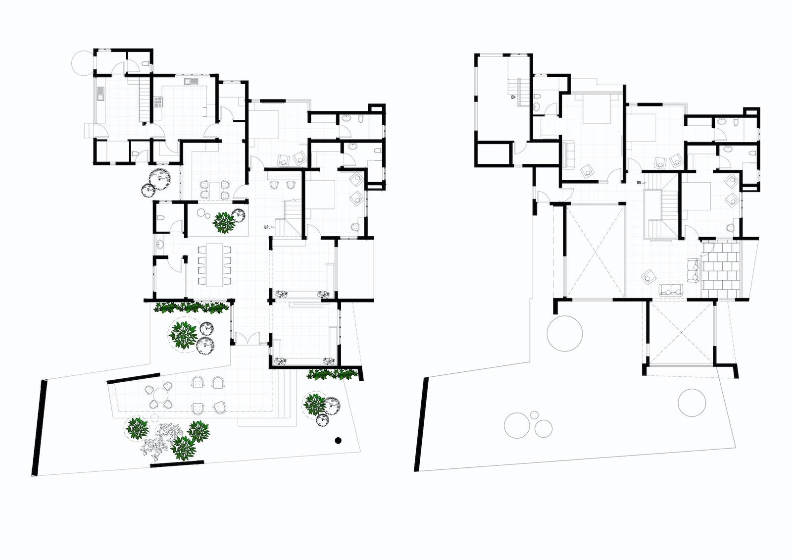 Floor plans of Pakhaniyil Residence by Nufail Shabana Architects