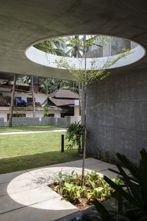 The circular openings in the concrete slabs allow plants to grow through the building, strengthening the home's connection with the site. As the plants grow, the light will become filtered.