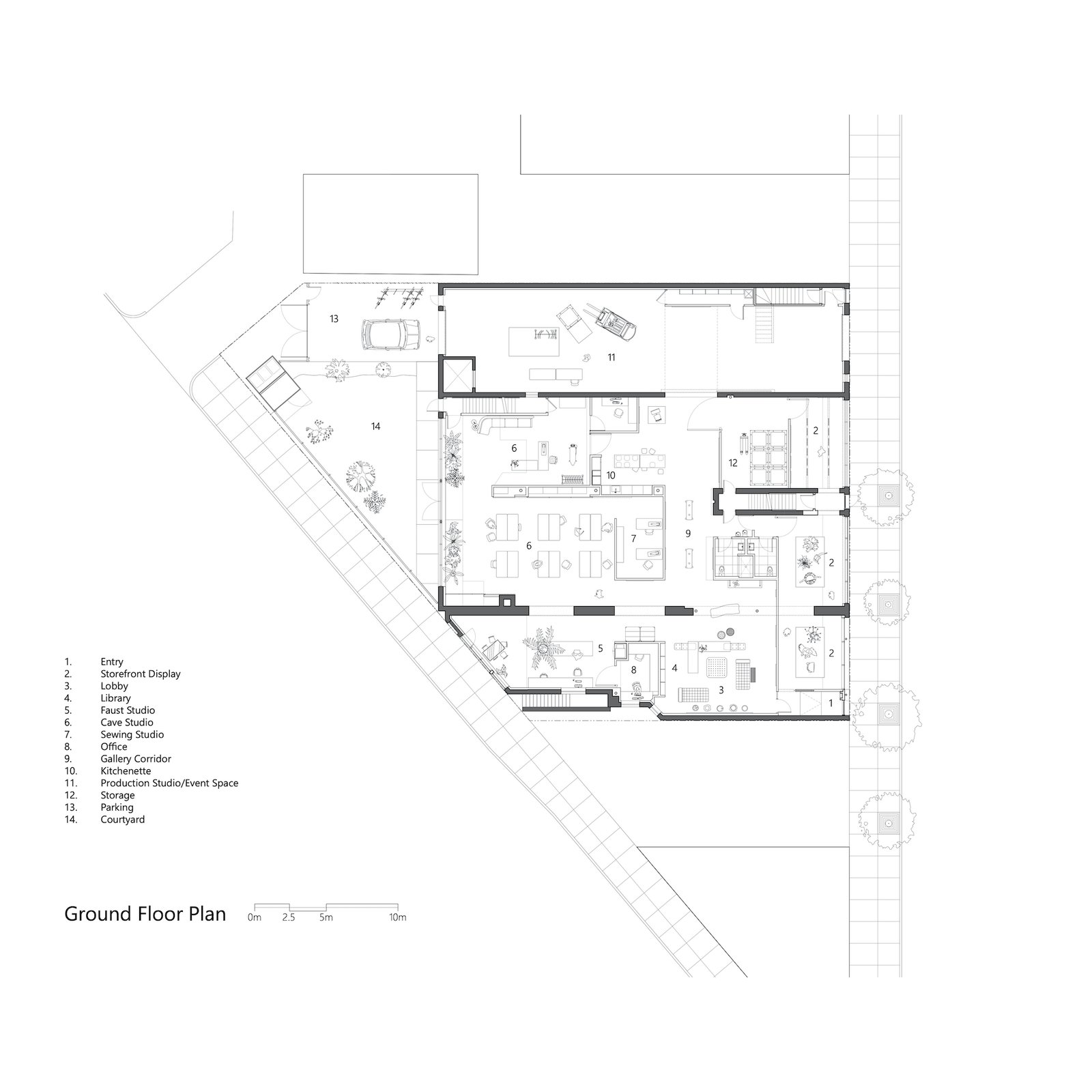 Ground-level floor plan of Facility by Carlo Parente Architecture