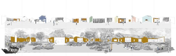 A concept diagram of Branch House by TOLO Architecture shows how the home changes as you move around and through it.