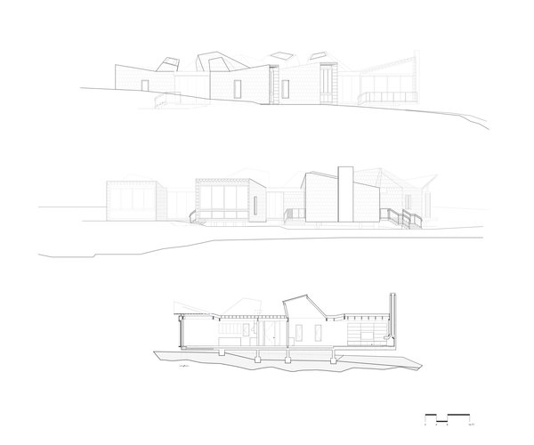 Elevations and section of Branch House by TOLO Architecture