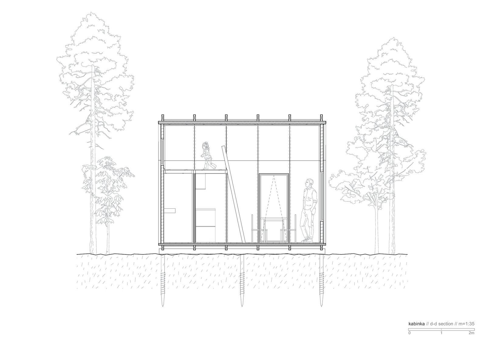 Section of Kabinka (With Mezzanine) by Hello Wood