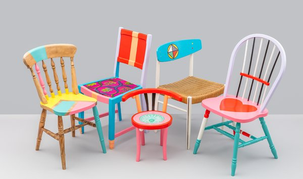 During London Design Festival 2017, Yinka collaborated with nonprofit social enterprise Restoration Station on a collection of colorful upcycled furniture that was auctioned off to raise money to fund workshops teaching skills in woodworking and furniture restoration. Participants in the program were given the opportunity to restore a chair inspired by Yinka's signature use of bold Nigerian prints and vivid colors.