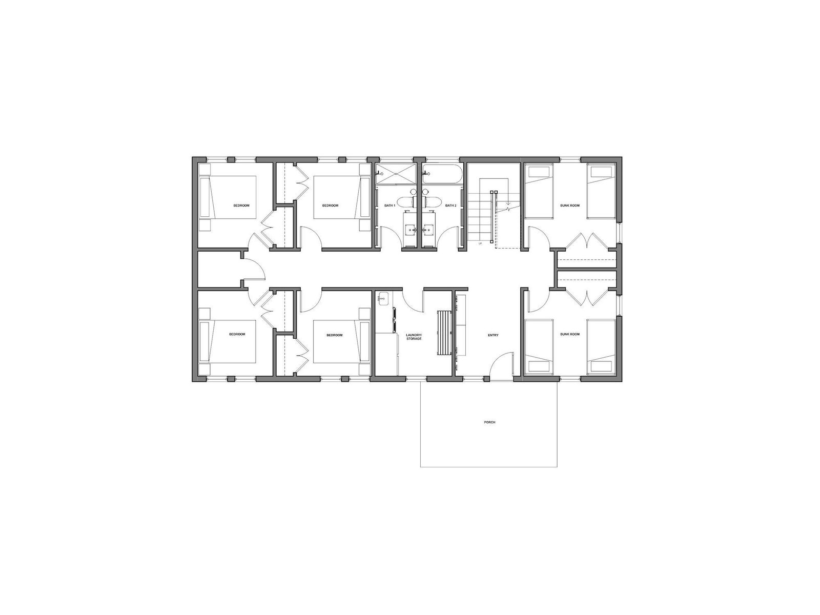 Ground floor plan of Kahshe Lake Cottage by Solares Architecture