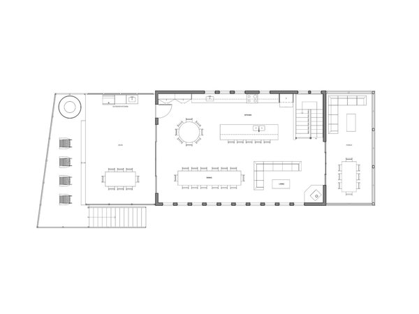 Upper floor plan of Kahshe Lake Cottage by Solares Architecture