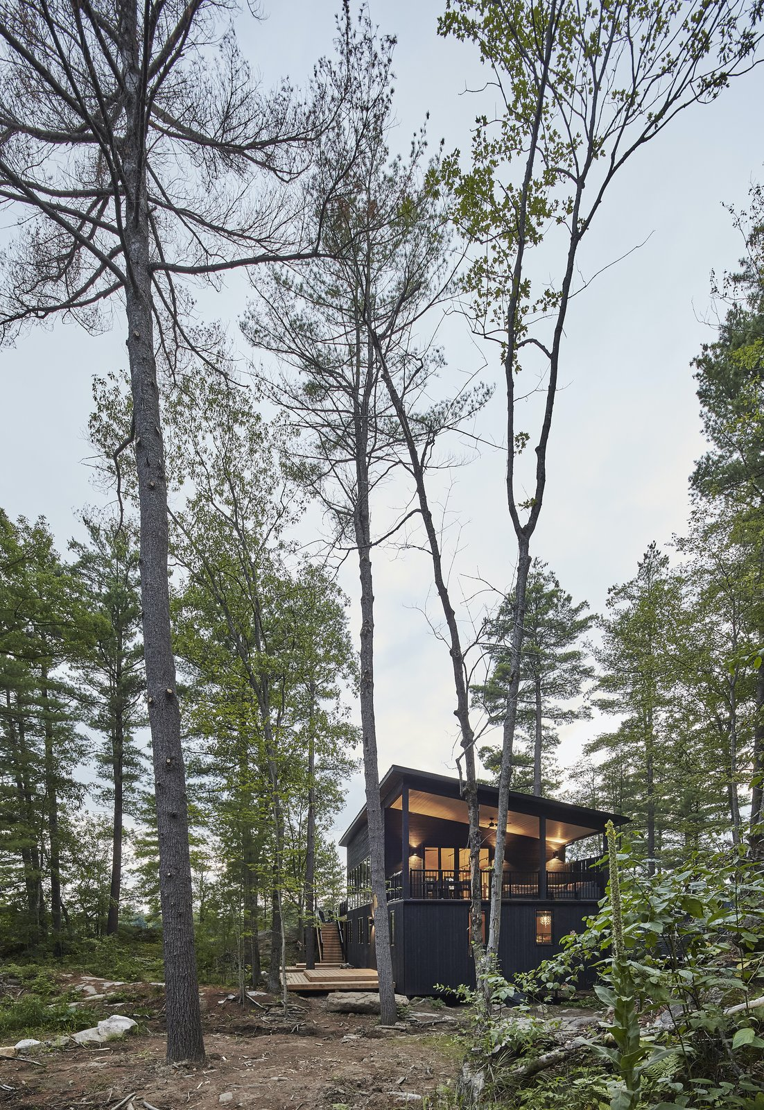 Exterior of Kahshe Lake Cottage by Solares Architecture.
