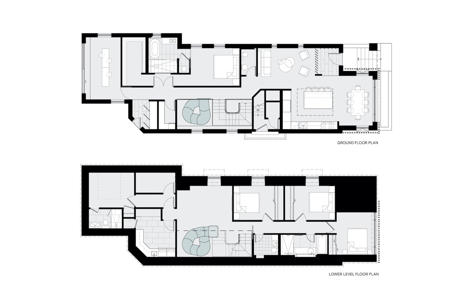 Ground floor and lower level floor plans of Walker Residence by Reflect Architecture