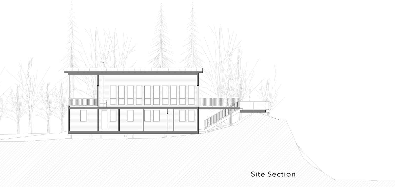 Site section of Kahshe Lake Cottage by Solares Architecture  Photo 21 of 21 in A Lakeside Canadian Cabin Channels Golden Summer Camp Vibes