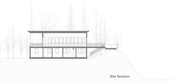 Site section of Kahshe Lake Cottage by Solares Architecture