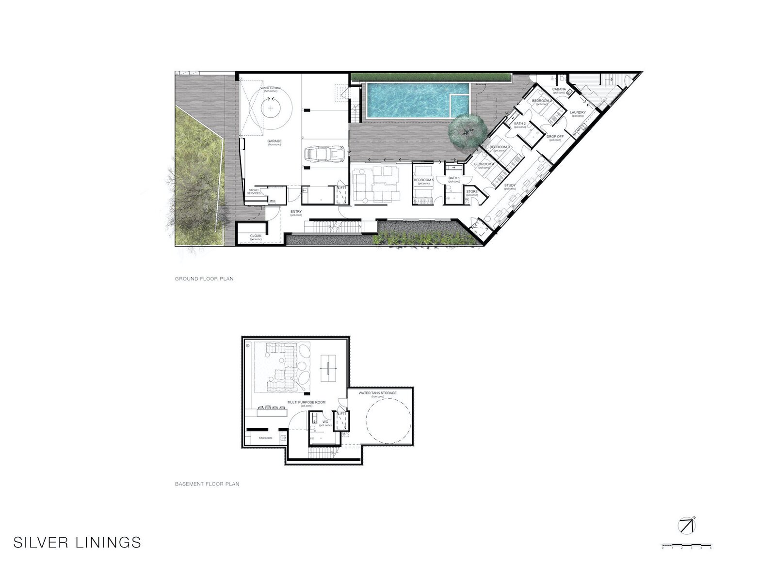 Basement and ground-floor plans of Silver Linings by Rachcoff Vella Architecture