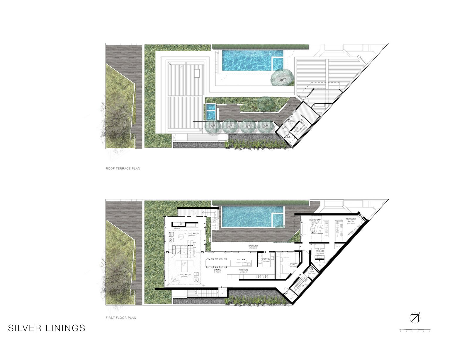 Second-story and roof terrace plans for Silver Linings by Rachcoff Vella Architecture