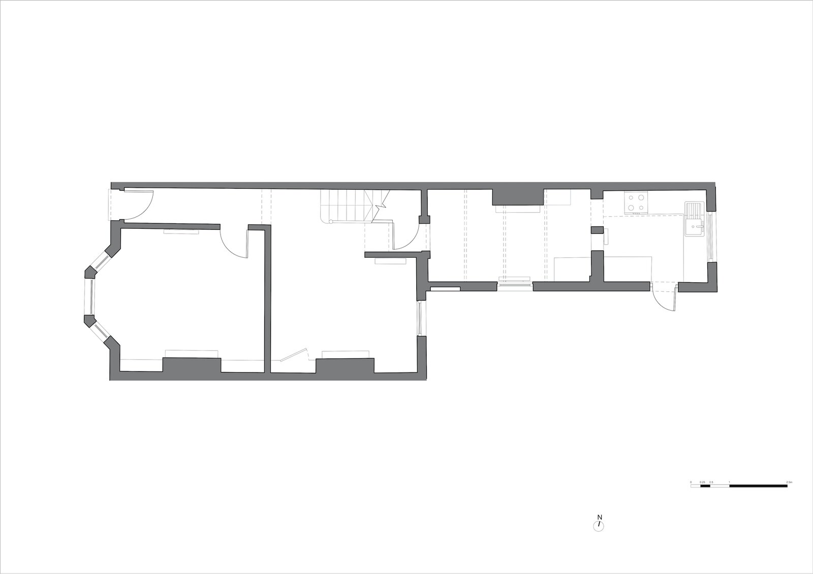 Ground floor plan of Zigzag Roof House by 4 S Architecture before the extension.