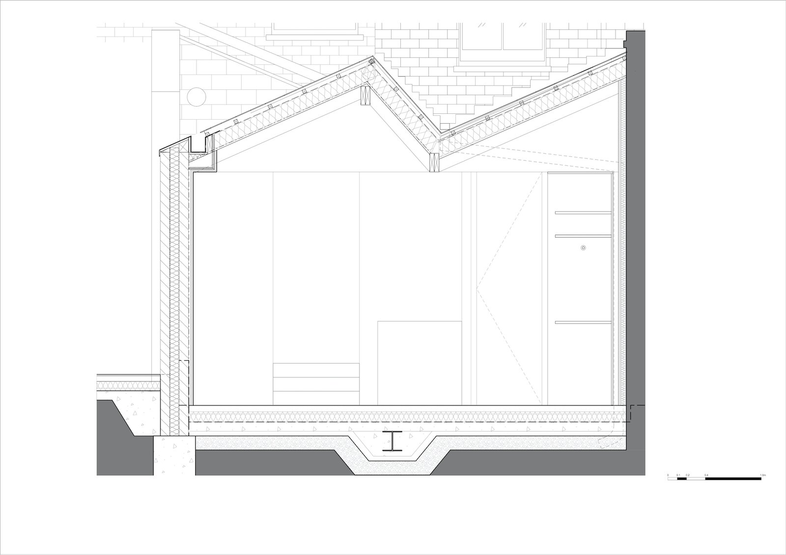 Section through the extension of Zigzag Roof House by 4 S Architecture.