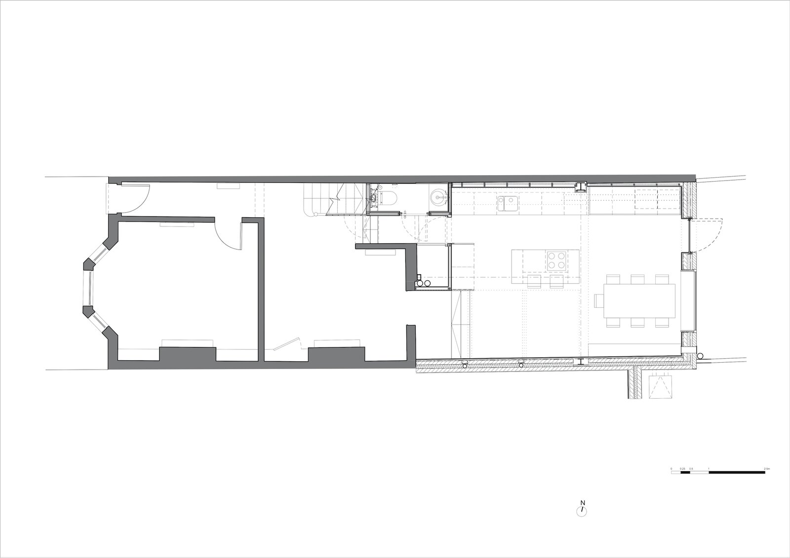 Ground floor plan of Zigzag Roof House by 4 S Architecture after the extension