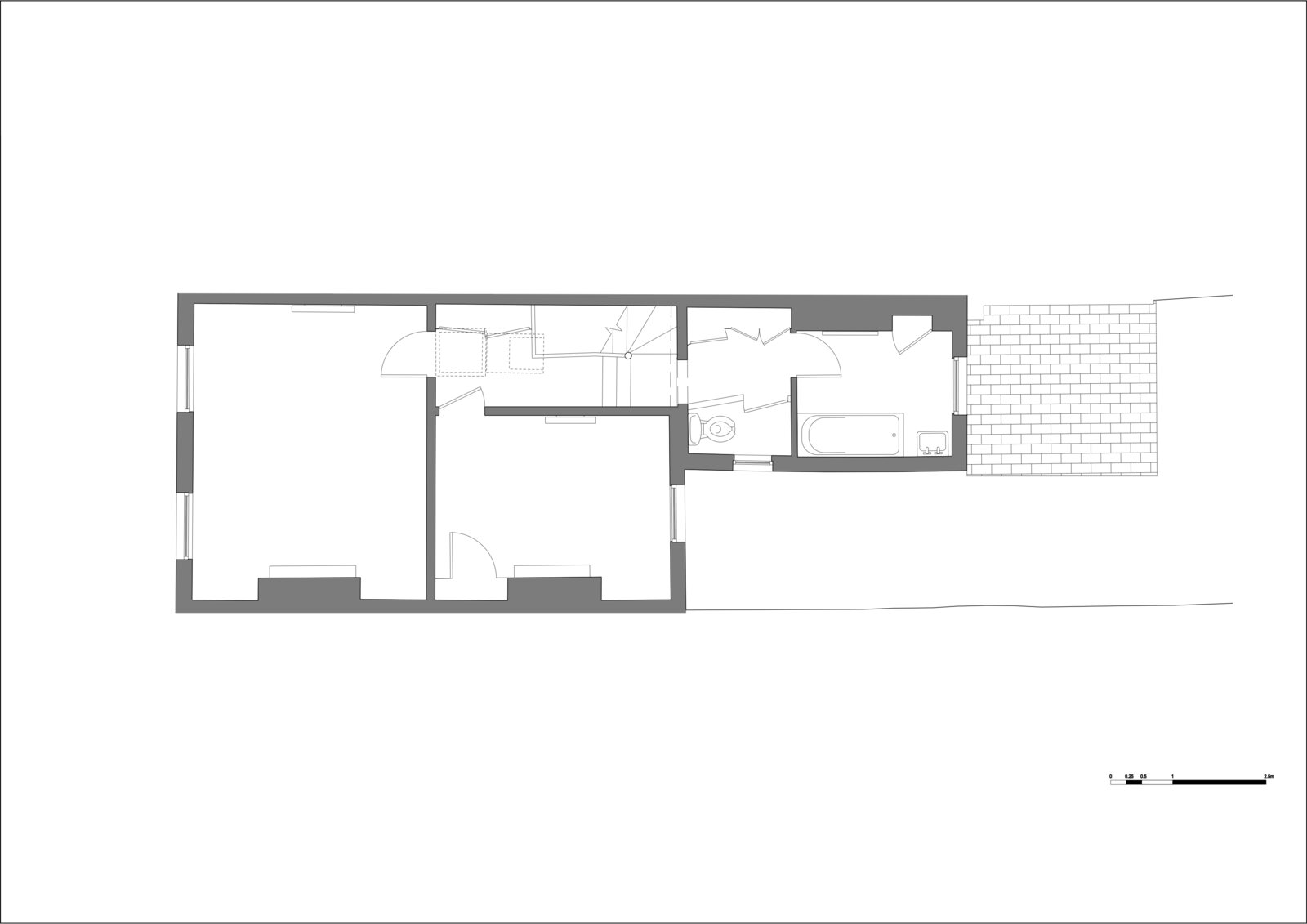 First floor plan of Zigzag Roof House by 4 S Architecture before the extension.
