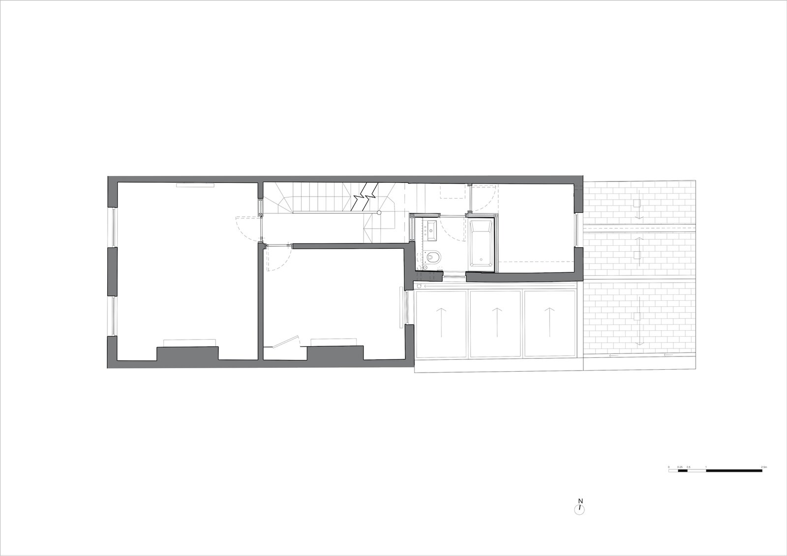 First floor plan of Zigzag Roof House by 4 S Architecture after the extension.