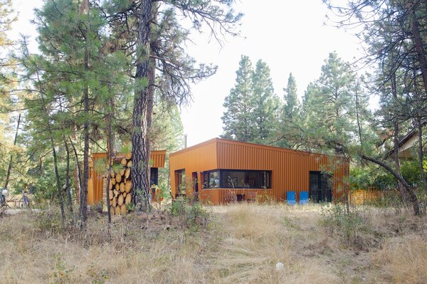 """It was very important to me that the cabin be low to the ground,"" says Diane. ""I love the forest floor and the sway of our huge ponderosas, so I wanted as little disruption of the natural ecosystem as possible—a request which our builder, Trevor, honored admirably."""