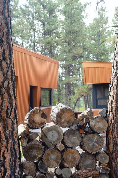 "The logs stacked between trees give the cabin a wood supply for the wood burning stove which can heat the whole place in winter and cuts down on electricity. ""The guys are out chopping and splitting wood every visit,"" says Diane."