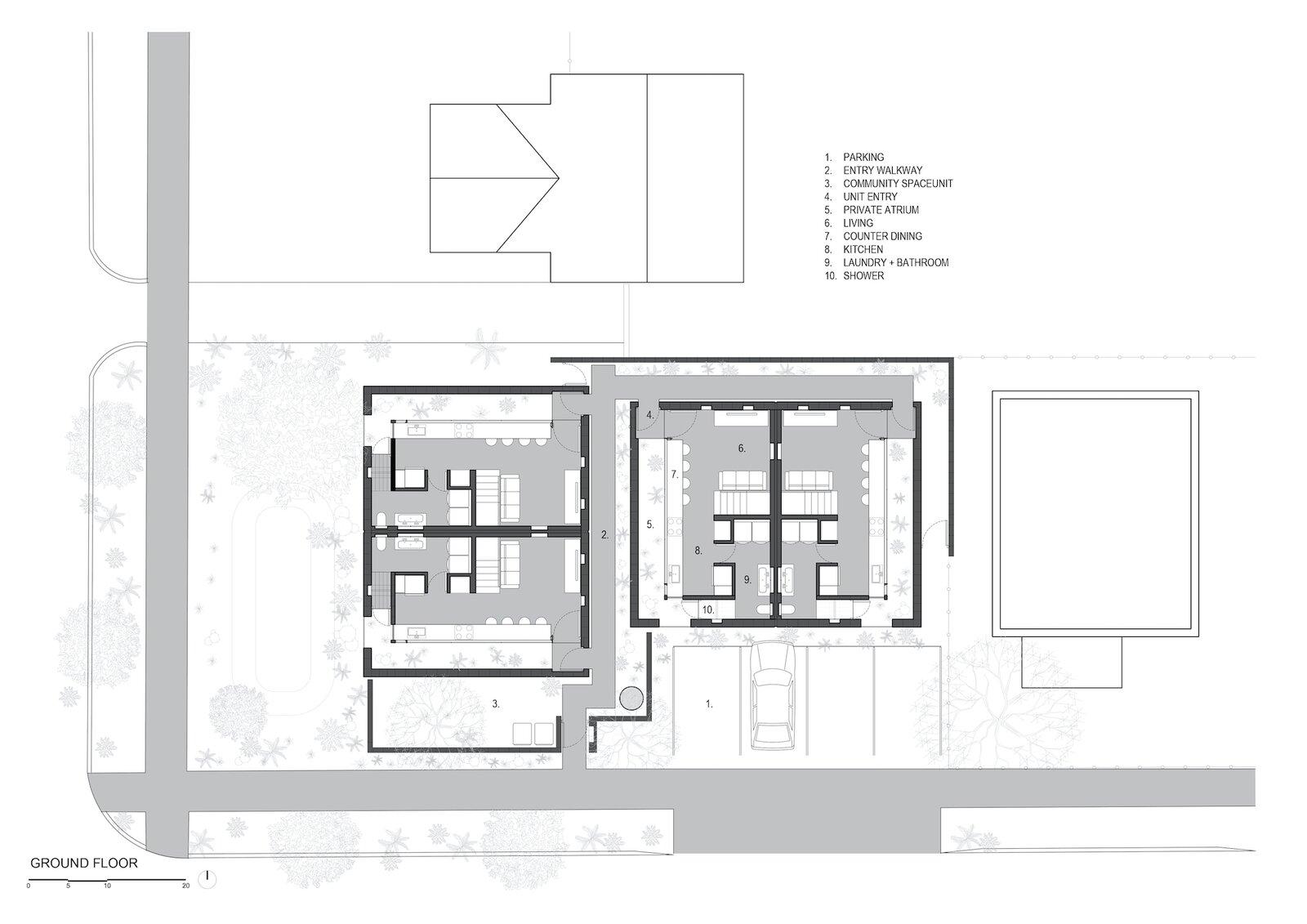 Ground floor plan of White Stone Flats by Benjamin Hall Design.