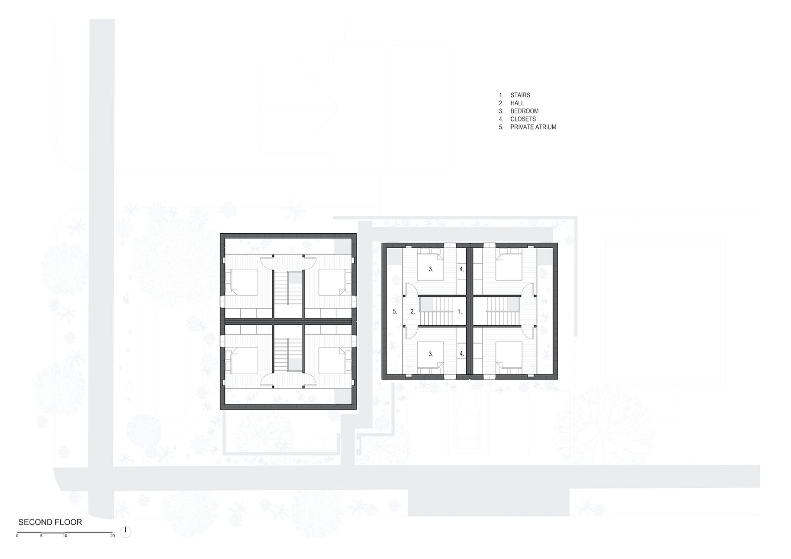 Second floor plan of White Stone Flats by Benjamin Hall Design.
