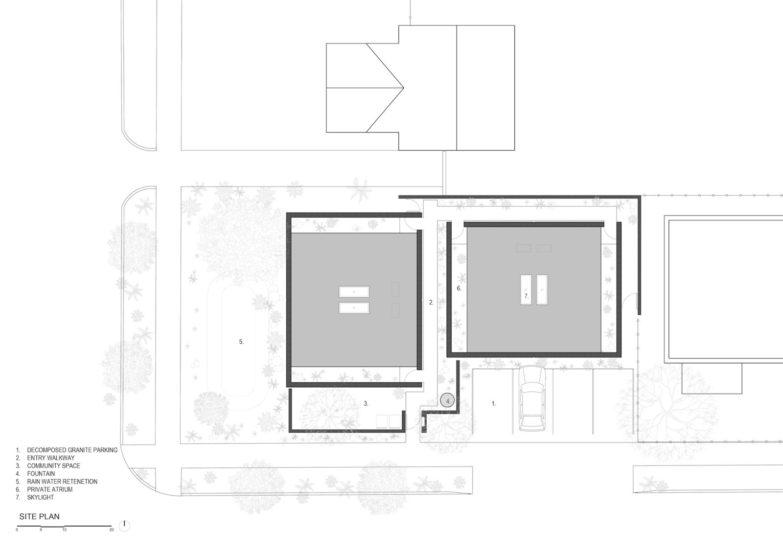Site plan of White Stone Flats by Benjamin Hall Design.
