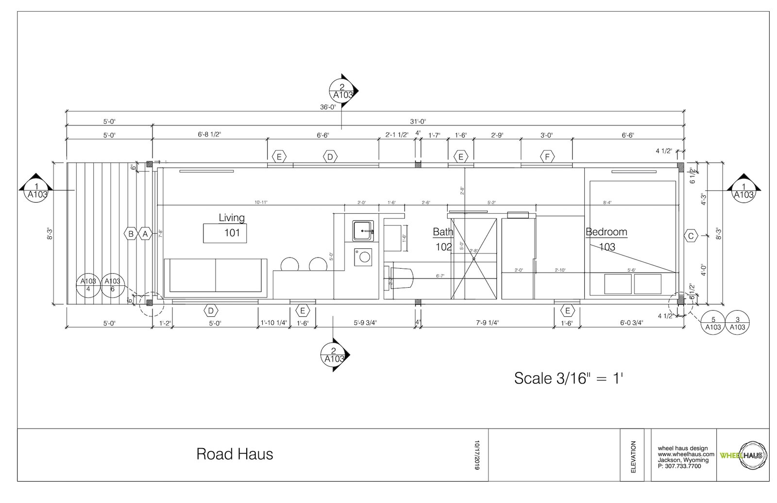 Floor plan of Road-Haus by Wheelhaus  Photo 14 of 15 in This 250-Square-Foot Prefab Cabin Fits a Queen Bed and a Fireplace