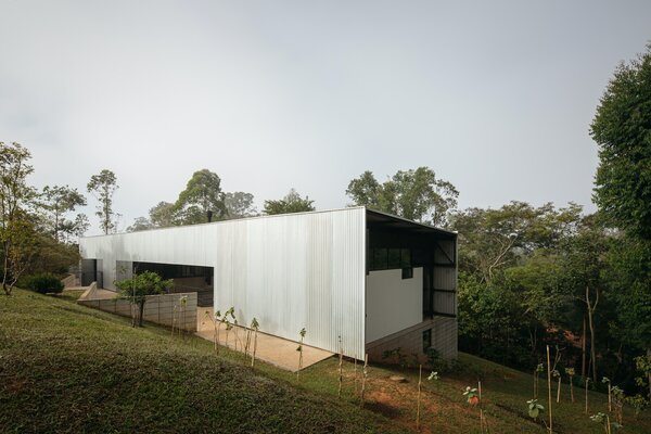 The site is a generous lot at an estate in Cotia, on the outskirts of São Paulo—an area that has plenty of greenery. Part of the concept for the home was to replace some of the existing exotic trees with native plants.