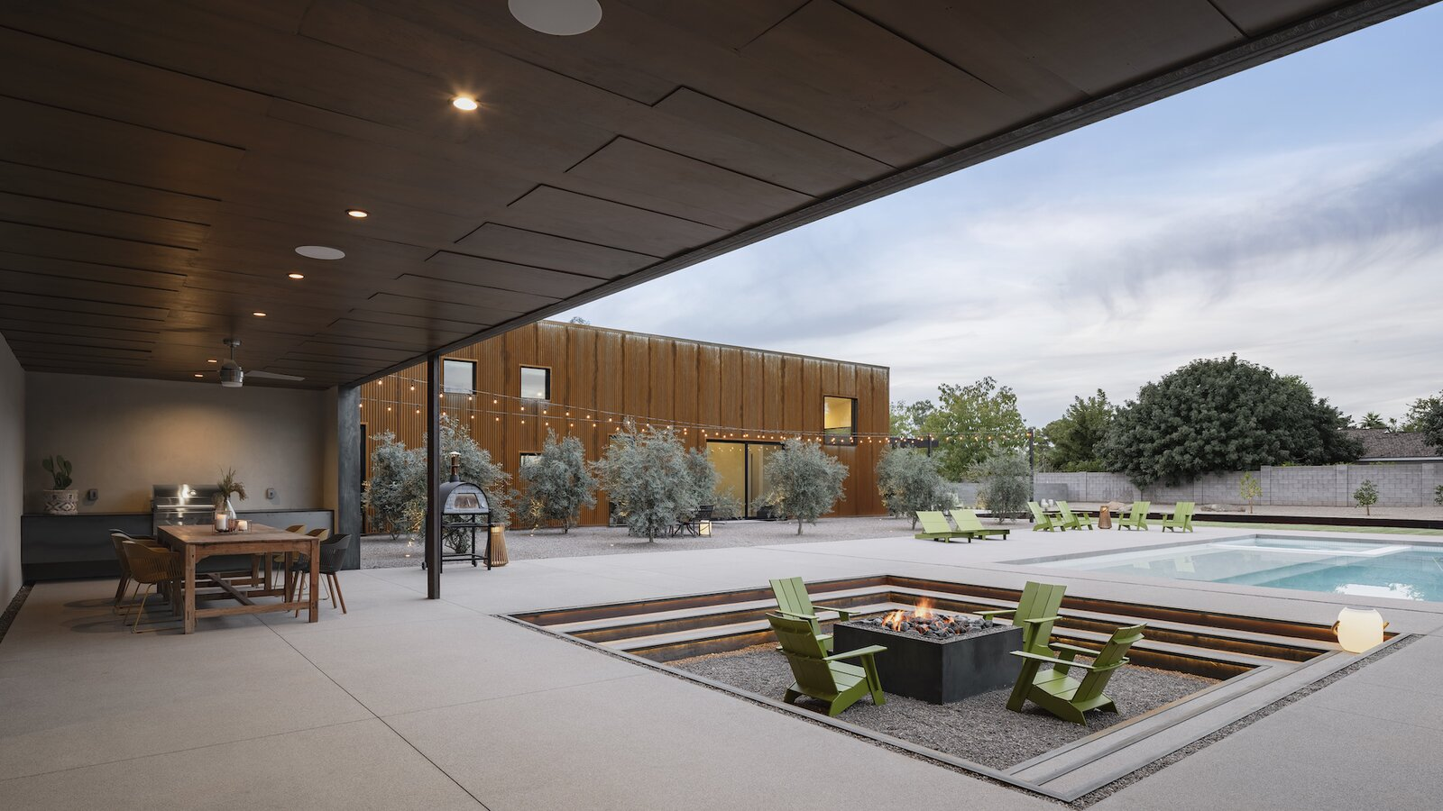Courtyard and fire pit of Foo by The Ranch Mine.