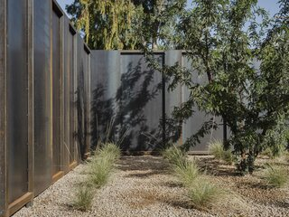 Native Sonoran flora—such as salvaged soap tree yuccas, ocotillos, and saguaros—are planted at strategic locations. Low-water hybrid grasses and shrubs complement the larger plants, creating a very serene experience while keeping maintenance to a minimum.