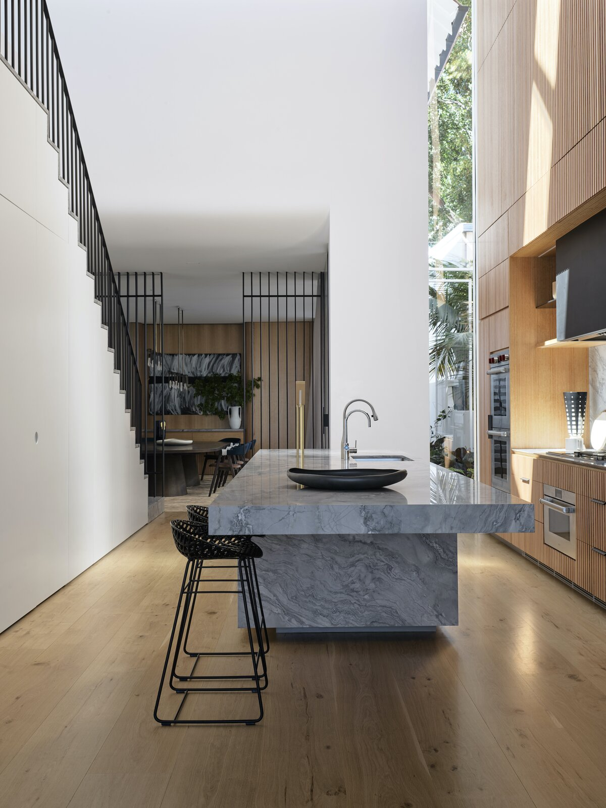 Kitchen of Bring to Light Terrace House by Stafford Architecture.