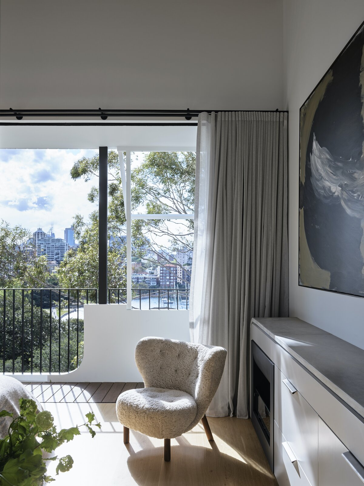 Main bedroom of Bring to Light Terrace House by Stafford Architecture.