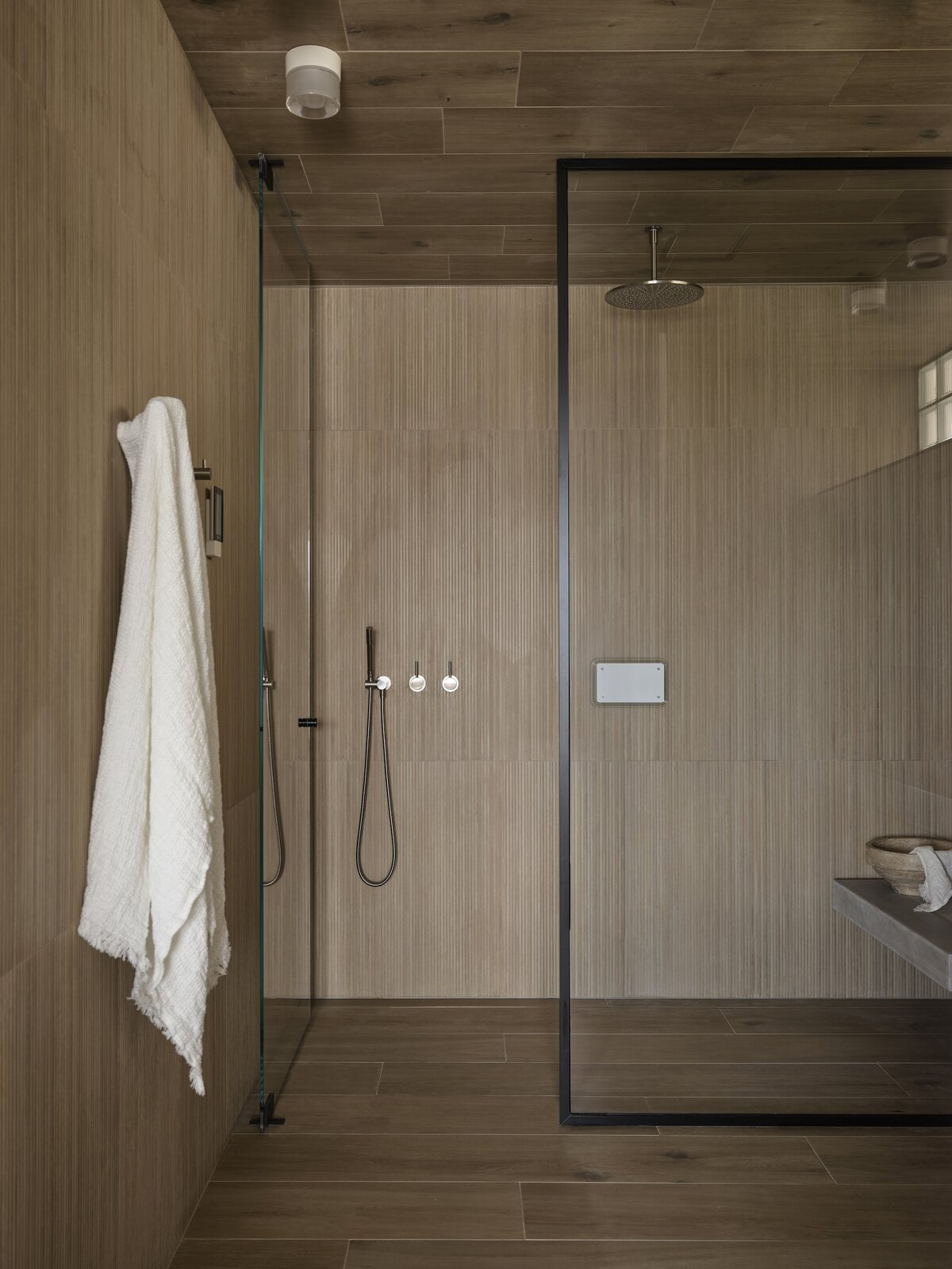 Shower of Bring to Light Terrace House by Stafford Architecture.