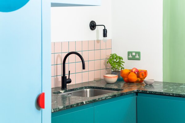 The kitchen work surface is crafted from terrazzo from InOpera, a company that reuses marble offcuts.