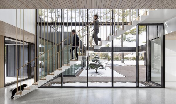A double-height glass wall looks out onto the home's courtyard entrance.