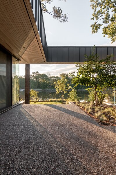 """The architects designed the outdoor courtyards to """"define the internal geometry of the house,"""" Morales explains."""