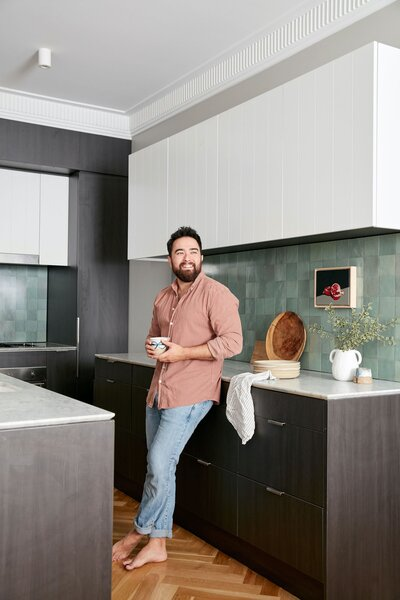 """When choosing an apartment to buy off-plan, one of the deciding factors for Jono was the size of the kitchen. """"I noticed a lot of new apartments had extremely small kitchens,"""