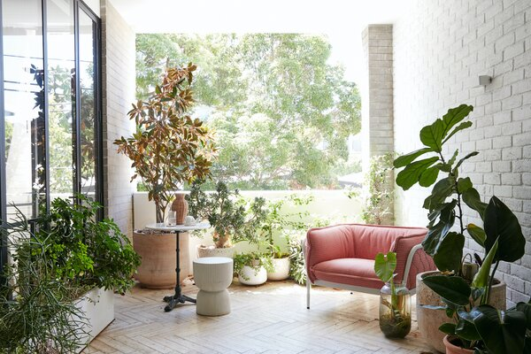 """The living space opens out to a large, plant-filled terrace where the couple often eat breakfast. """"My balcony is the perfect sanctuary,"""