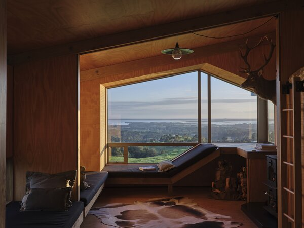 """The plywood fins have a telescopic effect that intensifies the coastal view to the north. """"I wanted the clients to have an alternative experience to the wide open vistas they work in on the farm,"""