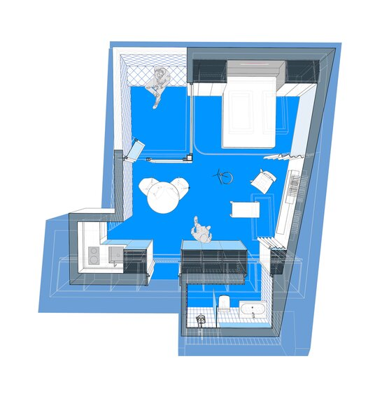 Floor plan of Beach House by Gon Architects