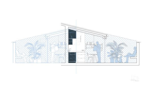 Section of Beach House by Gon Architects