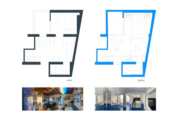 Before and after floor plans of Beach House by Gon Architects