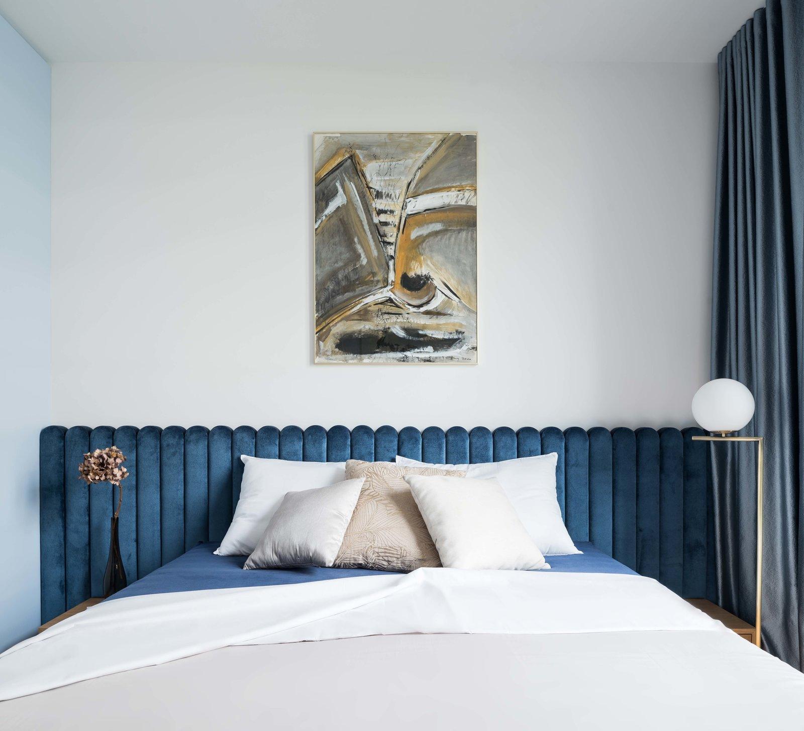 Bedroom, Night Stands, Floor Lighting, and Bed Bedroom with a velvet headboard  Lady by idealist studio