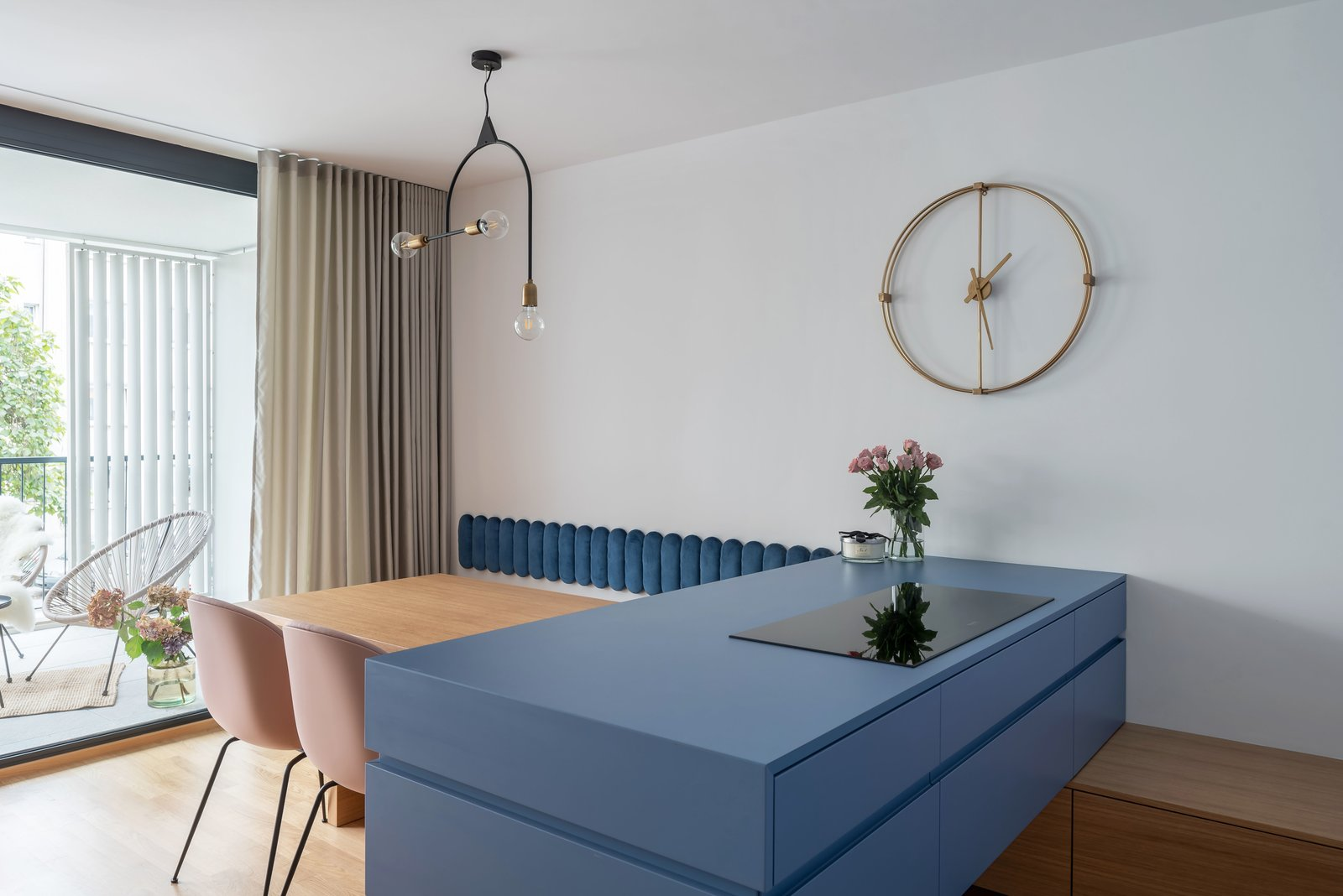 Dining Room, Chair, Storage, Table, Bench, and Pendant Lighting Dining room and kitchen  Lady by idealist studio