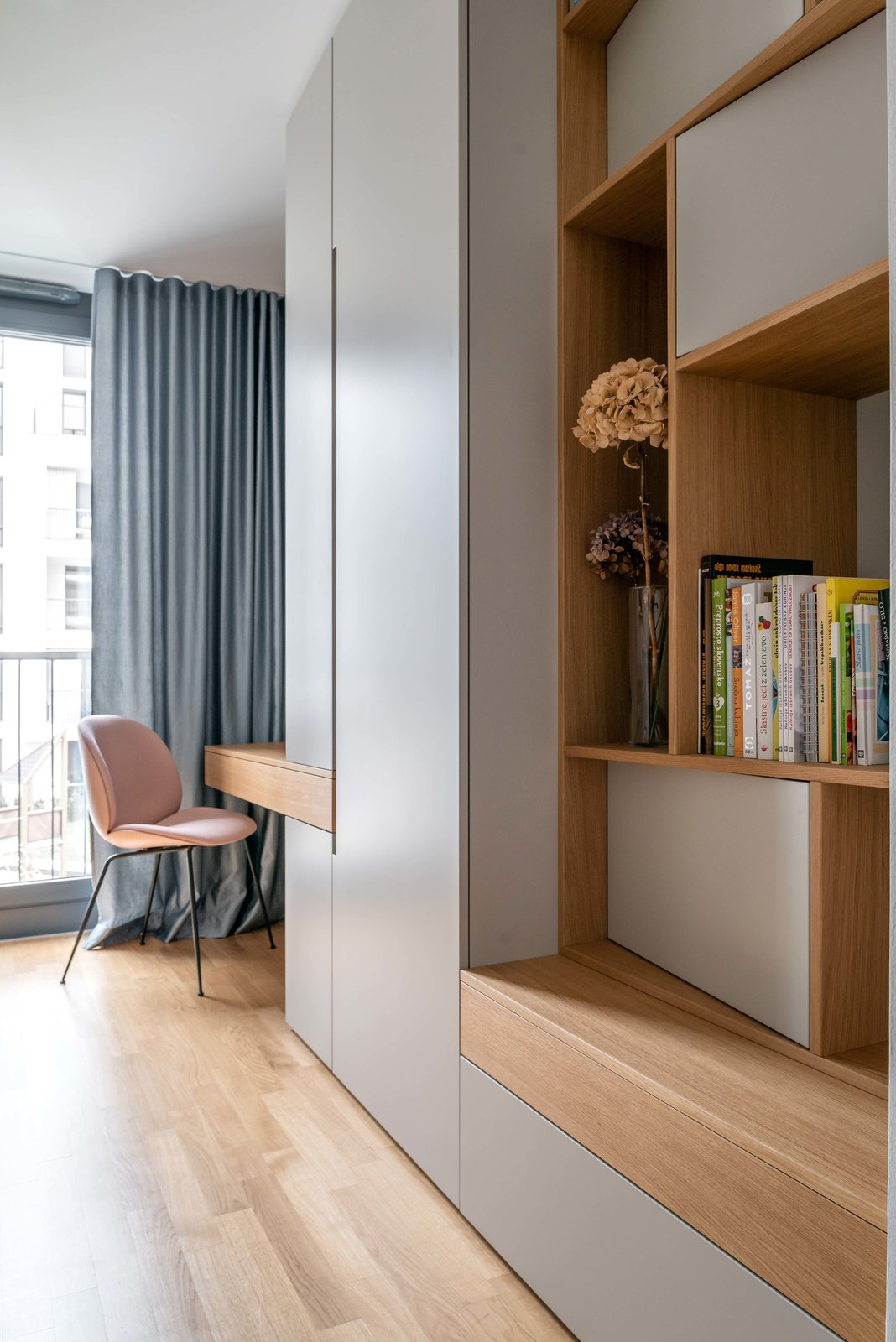 Office, Desk, Bookcase, Chair, Study Room Type, Library Room Type, Craft Room Room Type, and Storage Guest room and study  Lady by idealist studio