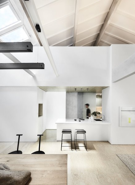 """A """"white box"""" inserted into the home neatly contains various functions and services. It unifies the entire apartment both in plan and section."""